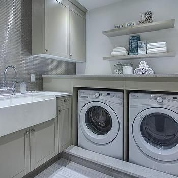 Contemporary Gray Laundry Room with Apron Sink and Deck Mount Faucet