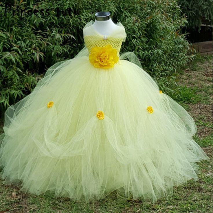 王女チュチュ黄色ベル衣装手作りの花子供ドレスハロウィン衣装パーティーコスプレ美人ドレス女の子ドレスw069