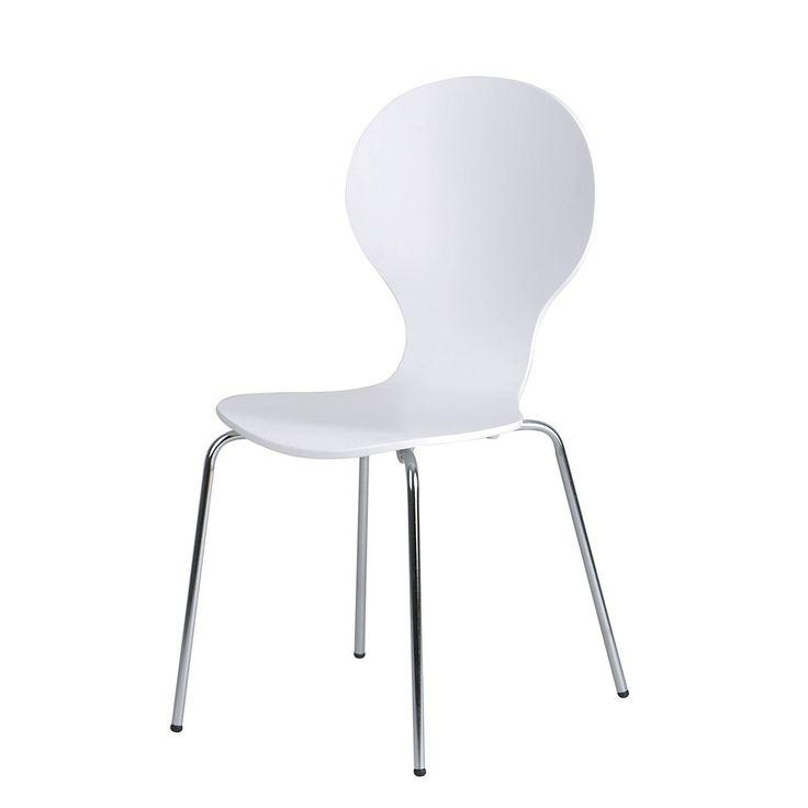 Cadeira Formiga Assento Polipropileno Base Aço Cromado Branca