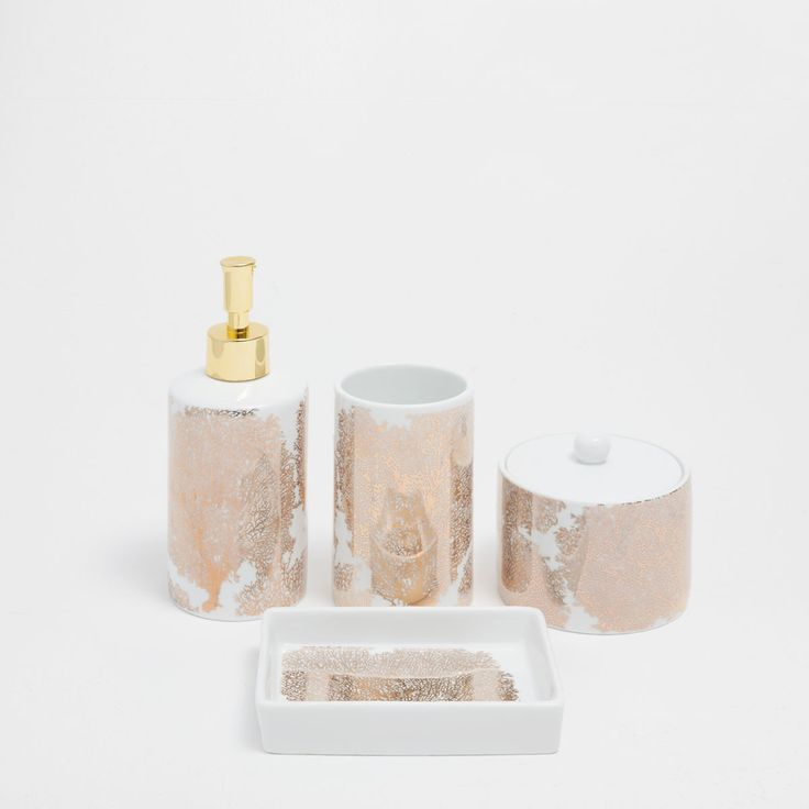 GOLDEN CORAL CERAMIC BATHROOM SET