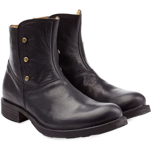 Fiorentini & Baker Button Detailed Leather Ankle Boots (2,700 EGP) ❤ liked on Polyvore featuring men's fashion, men's shoes, men's boots, black, vintage mens ankle boots, mens black shoes, mens slip on boots, mens leather ankle boots and mens slip on shoes