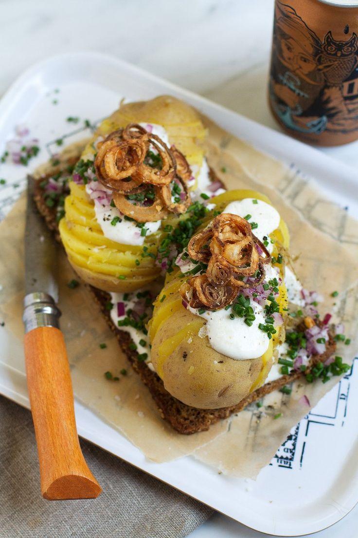 {Kartoffelmad Smørrebrød} Potato and Horseradish Creme Fraiche Open-Face Sandwich | http://saltandwind.com