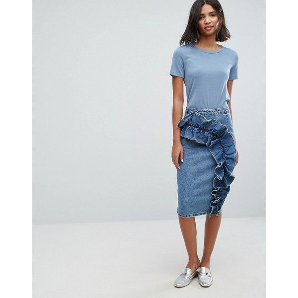 Lost Ink Denim Pencil Skirt With Exaggerated Frill ($60) ❤ liked on Polyvore featuring skirts, blue, ruffled skirts, pencil skirt, blue skirt, blue pencil skirt and high waisted pencil skirt