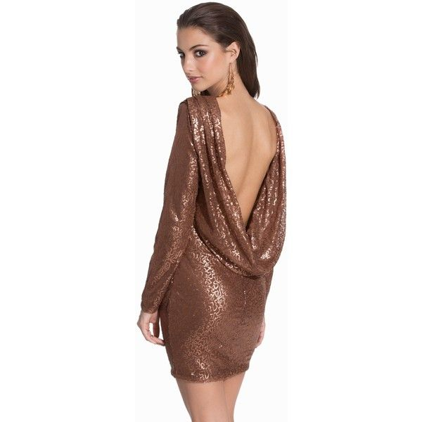 Club L Cowl Back Sequin ($21) ❤ liked on Polyvore featuring dresses, brown cocktail dress, tall dresses, sequin embellished dress, cowl back dress and drape dress