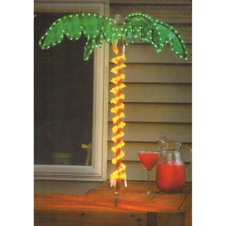 roman 30 tropical lighted holographic rope light outdoor palm tree yard decoration brown metal