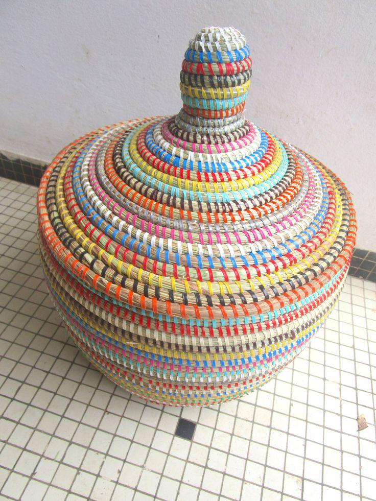 Small Basket, Wool Basket, Multicoloured Basket, Boho Interior, Storage Bin by africanbaskets on Etsy