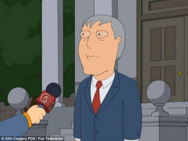 West landed a job on the cartoon Family Guy in 2000, as the voice for the mayor of Quahong, also named Adam West, pictured