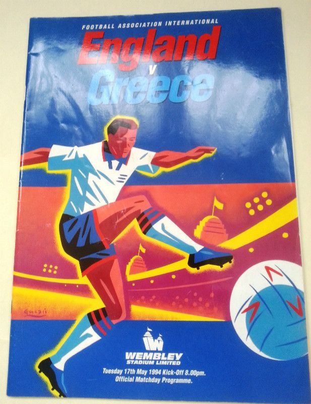 England v Greece FA International Football Programme 17/05/1994 Listing in the Friendly Internationals,International Fixtures,Football (Soccer),Sports Programmes,Sport Memorabilia & Cards Category on eBid United Kingdom