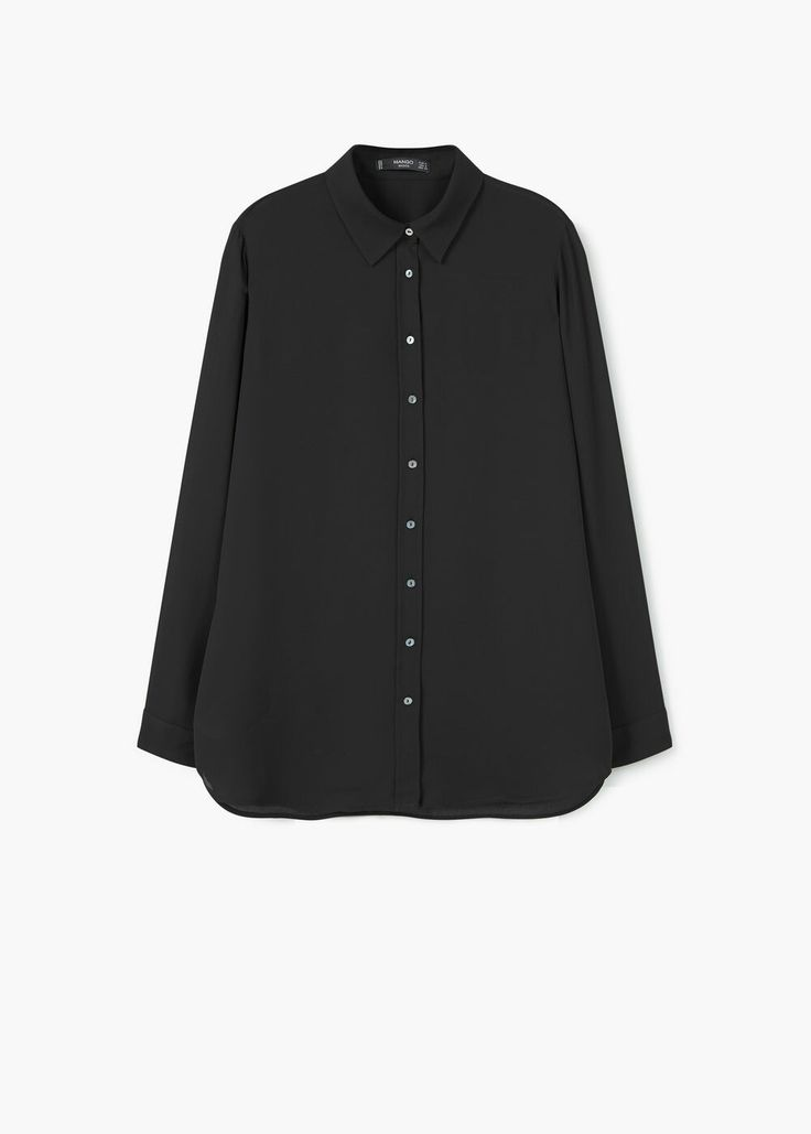 Flowy Shirt by Mango. Black Sheer Blouse.