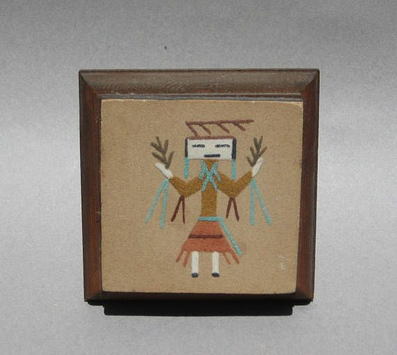 Vintage Navajo Sand Painting on Wooden Easel Ceremonial Dancer