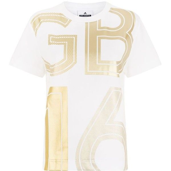 Adidas By Stella McCartney Team GB Gold Foil T-Shirt ($40) ❤ liked on Polyvore featuring tops, t-shirts, white sports t shirt, white round neck t shirt, adidas originals tee, white tee and logo t shirts