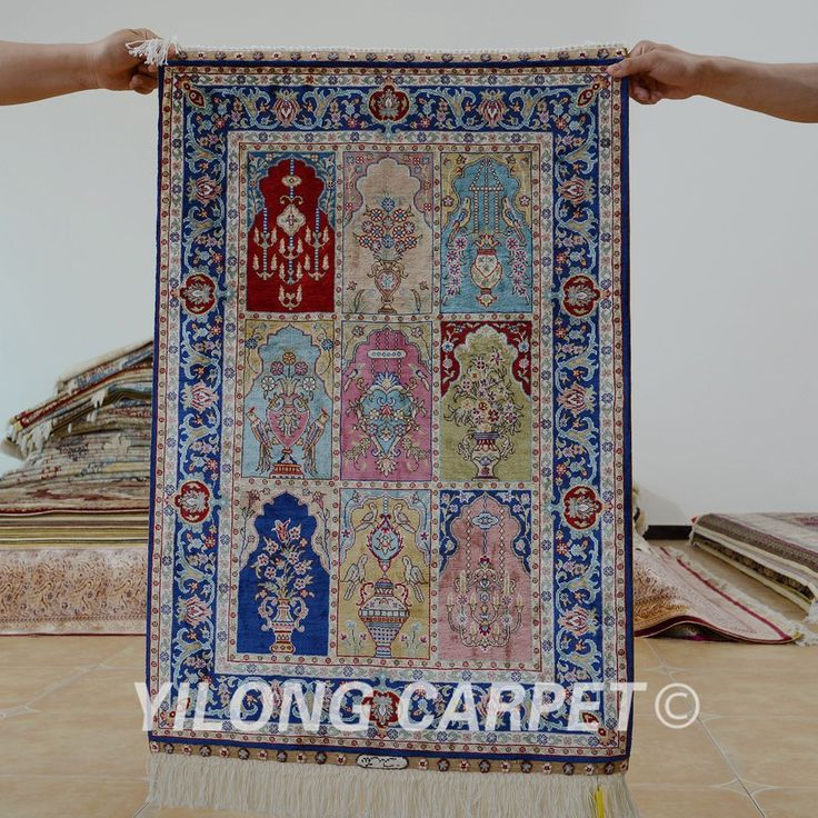 Yilong 2'x3' Turkish silk carpet garden de…