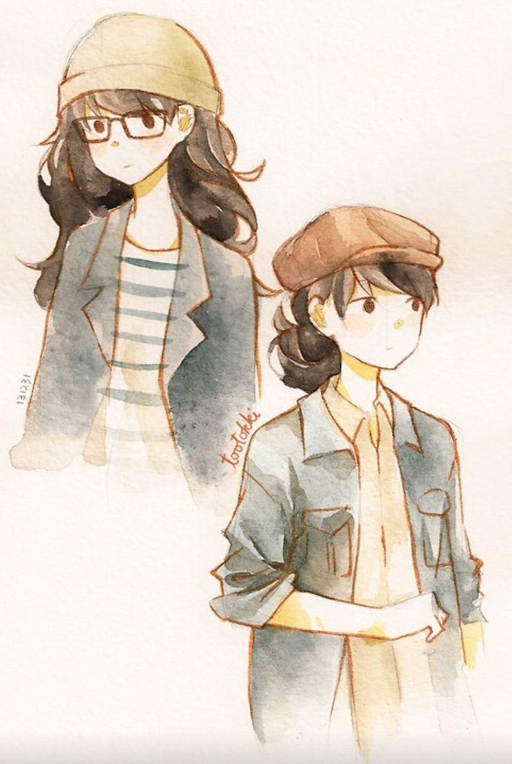 Anime drawings watercolor- tootokki ʕ •ᴥ•ʔ