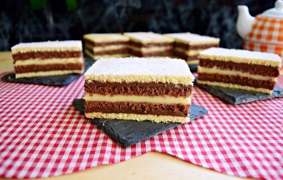 Prăjitura Duo, cu foi și creme în două culori
