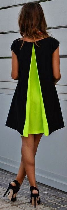 Green neon and black dress.