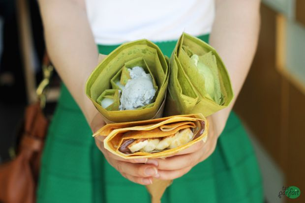 green tea ice-cream #crepes :: Harajuku Crepe Cafe, Beverley Hills, Los Angeles
