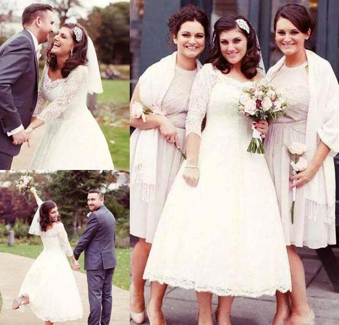 Latest Plus Size Short Beach Wedding Dresses Vintage Long Sleeve
