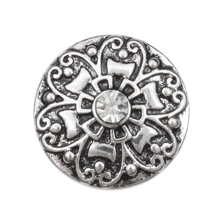 Snap! Metal with Stones Interchangeable Fastener Round Flower 19MM Crystal Antique Nickel 1pc Off Price Policy - 4005-0104-018 - Club Bead Plus