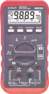 KM 629 DIGITAL MULTIMETER WITH HARMONICS INDEX MEASUREMENT-KUSAM MECO • Harmonics Index measurement • T1- T2 Temperature measurement • 4mA-20mA loop Current Measurement • Auto-ranging record Max, Min, Max-Min, Avg • Auto-ranging relative zero mode • 42 Segments Bar Graph • Data Hold & Auto power off Function.