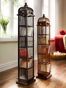 etagere cd bois style cage Helline