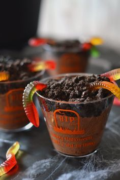 Customize your Halloween party decorations by serving your favorite spooky dessert or beverage in these disposable, personalized clear plastic Halloween cups and add the finishing touches to your spooky Halloween party decor.  A great option for guest souvenirs and party favors at a Halloween birthday party or costume parties, fill with cute desserts like this spooky dirt pudding. To order, visit http://www.tippytoad.com/personalized-clear-plastic-halloween-party-cups.asp