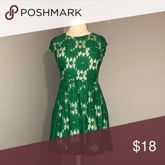 Beautiful Green Lace Dress This is in perfect condition, has only been worn twice, is perfectly comfortable, and has a tan covering running throughout it underneath the lace so it is beautifully modest. Sophie Max Dresses