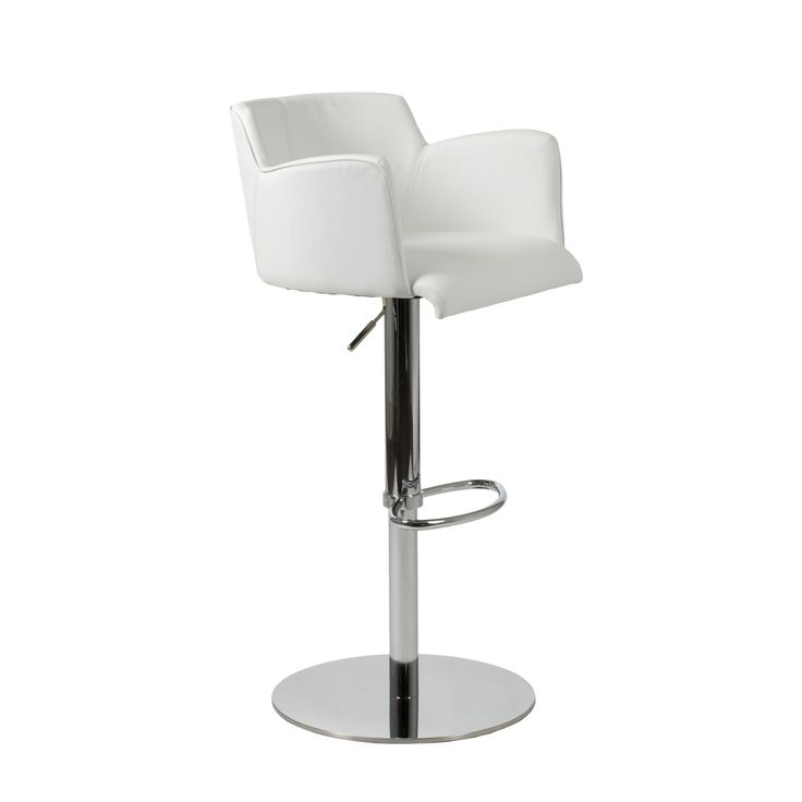 Euro Style Sunny Bar/Counter Chair in White Leatherette/Chrome