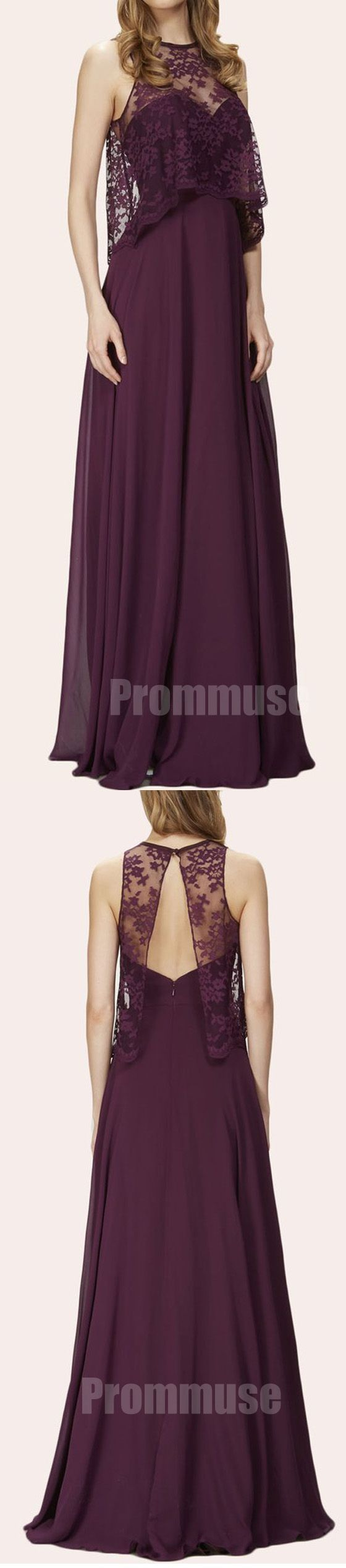 Unique Open Back Two Pieces Grape Cheap Long Bridesmaid Dresses, PM0817 #bridesmaids #wedding