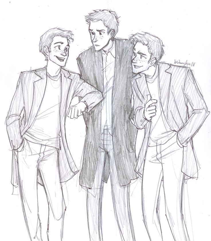The Weasley twins and Ron. this is how i pictured them reading the books.