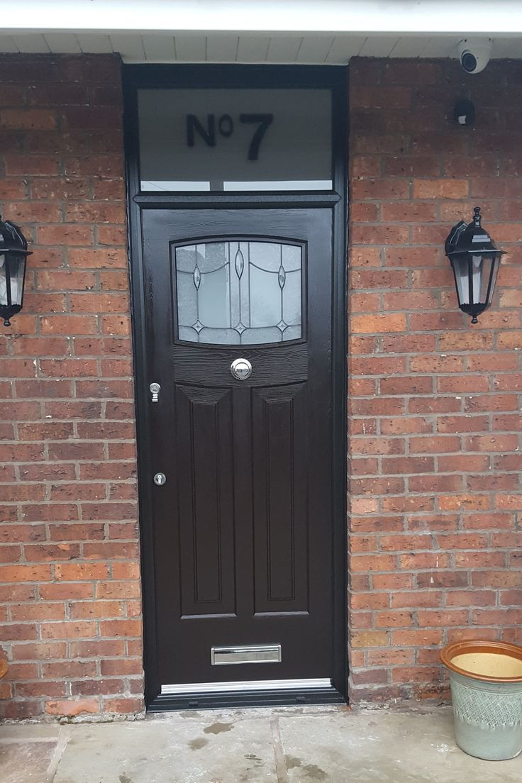 Another Black Newark! Fitted with Lantern glass and centre knob and finished with an etched fan light.  #Rockdoor #Newark #HomeImprovements