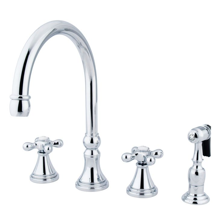 "Kingston Brass KS2791AXBS Governor 8"" Deck Mount Kitchen Faucet With Brass Sprayer, Polished Chrome - Price: $299.95 & FREE Shipping over $99     #kingstonbrass"