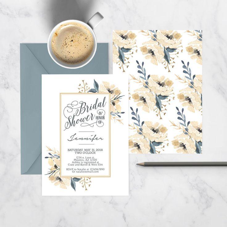 Golden Flora Bridal Shower Invitation