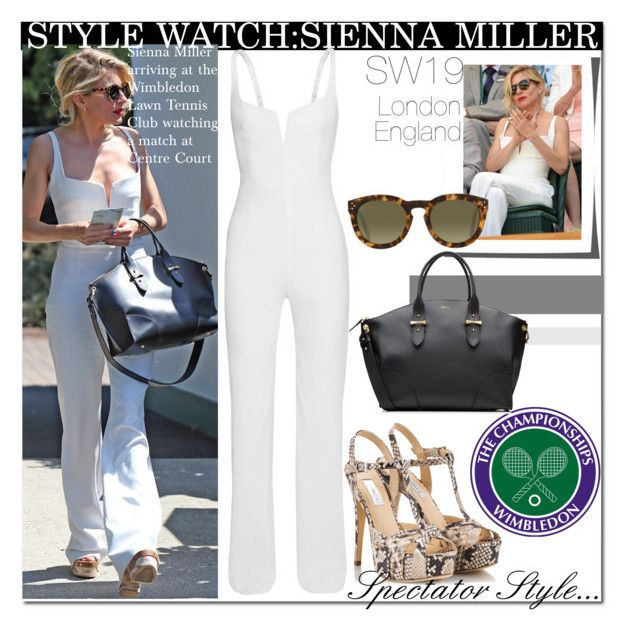 Wimbledon Centre Court with Sienna Miller... by nfabjoy on Polyvore featuring Semilla sandals from Fratelli Karida, Alexander McQueen, CelebrityStyle, siennamiller and wimbledon