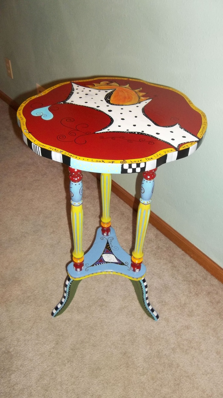 A commission job I just finished for my friend Kye.My Friend, Hands Painting, Painting Furniture, Handpainted Furniture, Furniture Redesign, Jazzy Furniture, Furniture Funky, Funky Furniture, Painting Tables