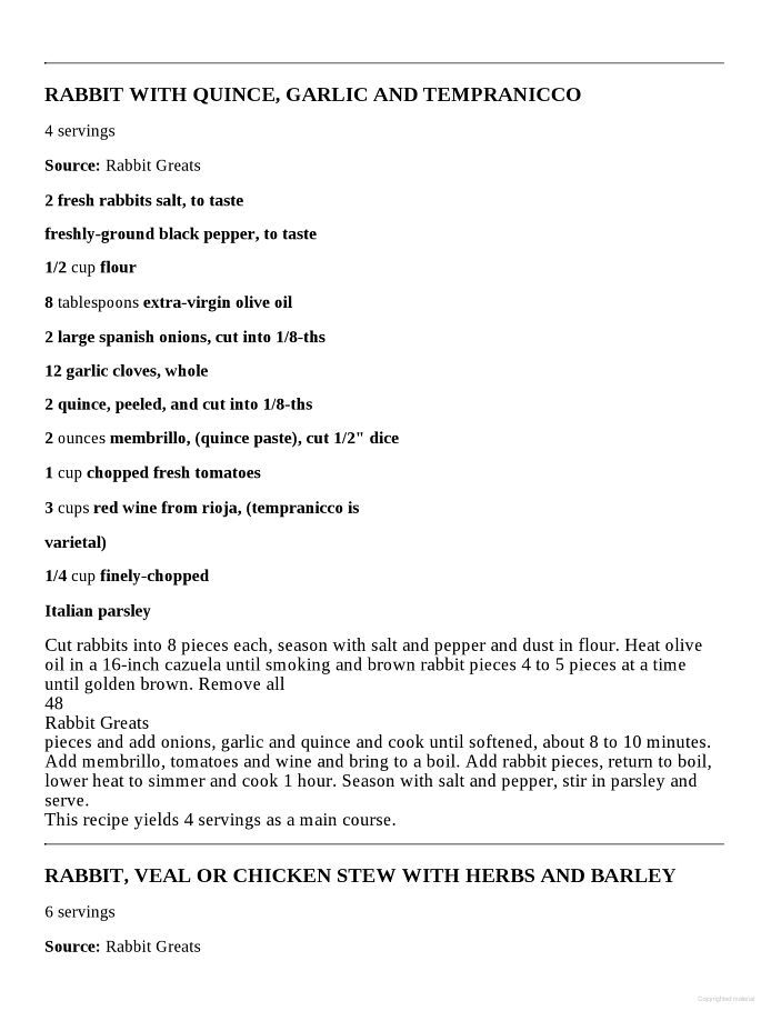 Rabbit Greats: Delicious Rabbit Recipes, The Top 49 Rabbit Recipes - Jo Franks - Google Books