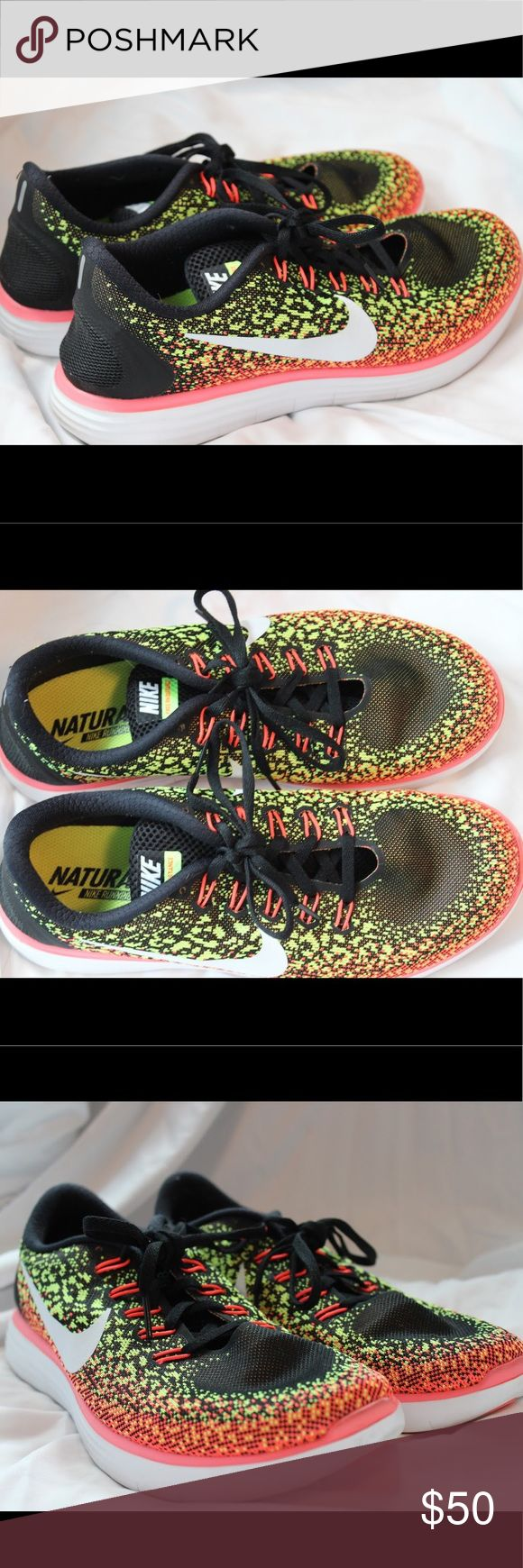 NIKE FREE RN DISTANCE WOMEN RUNNING SHOES Nike free RN distance running shoes. Only worn on treadmill three times, never outside. Super clean, look brand new. Bright and fun colorful pattern on black background. Size 10 US women. Nike Shoes Athletic Shoes