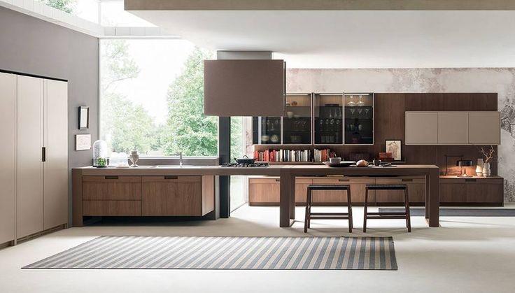 This spacious minimal kitchen uses Lapitec® Vesuvio in Tabacco. Made in collaboration with Pedini Cucine.