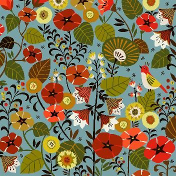 flowers and birds : Textile designs by Brie Harrison.