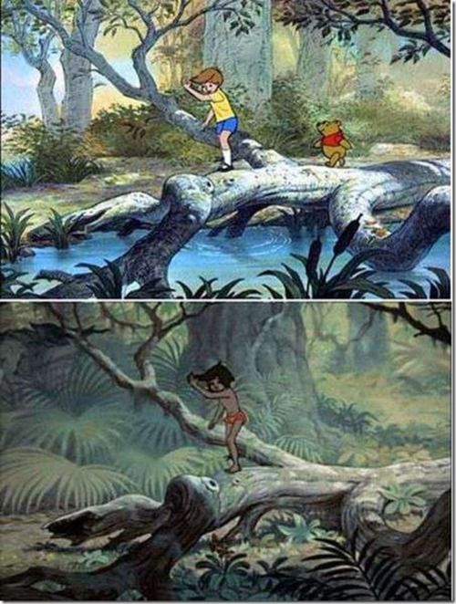 """Disney animators, to save time, used old animation cells all the time- here's a good example."""