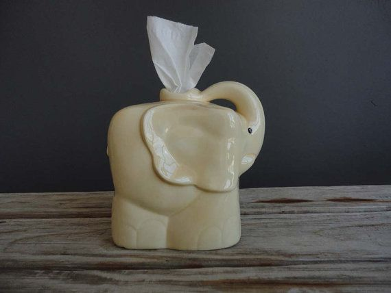Vintage Yellow Elephant Tissue Holder, Yellow and Elephant two of my favorite things