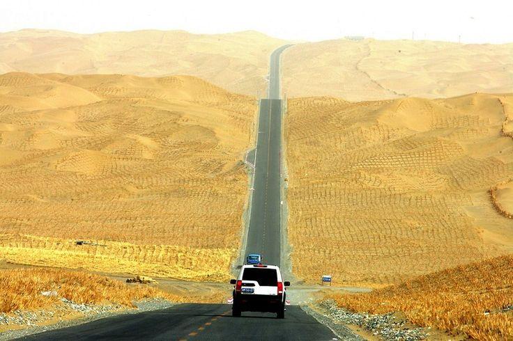 The Tarim Desert Highway across the Taklamakan desert, in China | The Green Belt Along The World's Longest Desert Highway |  via Flickr