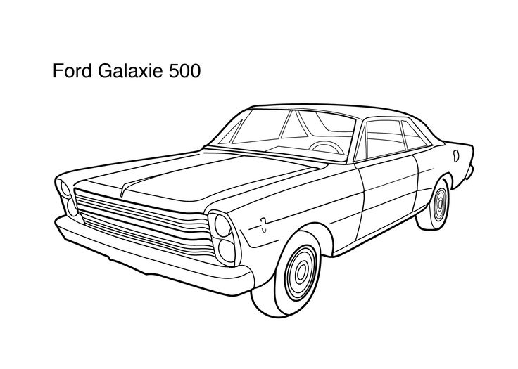 Super car Ford Galaxie 500 coloring page for kids