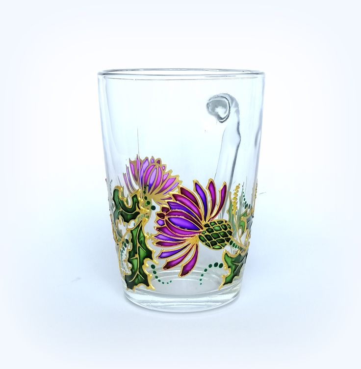 Scottish thistle coffee mug Personalised mug for him Hand painted glass coffee mug for boyfriend, husband, dad, Teacher mug Graduation gift