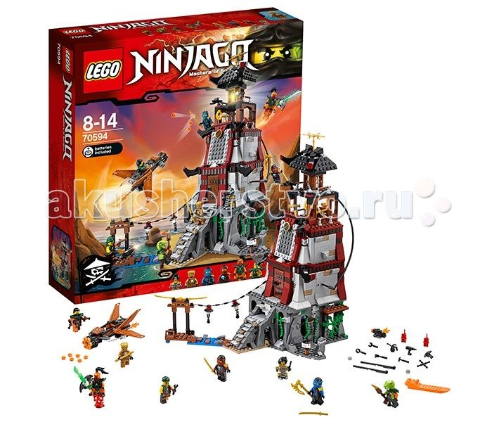 Конструктор Lego Ninjago 70594 Лего Ниндзяго Осада маяка  Lego Ninjago 70594 Лего Ниндзяго Осада маяка 767 деталей  Джей и Ния закрепились на маяке Доктора Джульена и должны отбить атаку Воздушных Пиратов, снова победив Надакхана. Для этого им придется использовать все свои навыки ниндзя! Для атаки пираты используют самолет, оснащенный скорострельным пулеметом.  Маяк - большое здание, которое собирается из серых, коричневых, черных и красных деталей. Одна из главных особенностей маяка…