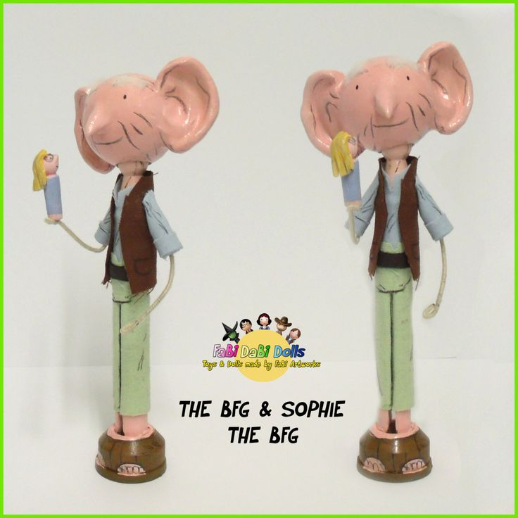 THE BFG and Sophie - Roald Dahl peg doll from FaBi DaBi Doll by totallyfabi on Etsy https://www.etsy.com/listing/247802455/the-bfg-and-sophie-roald-dahl-peg-doll
