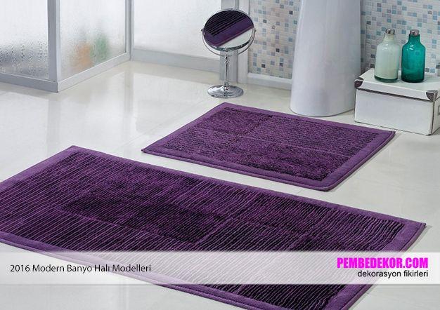 mor banyo halı modelleri