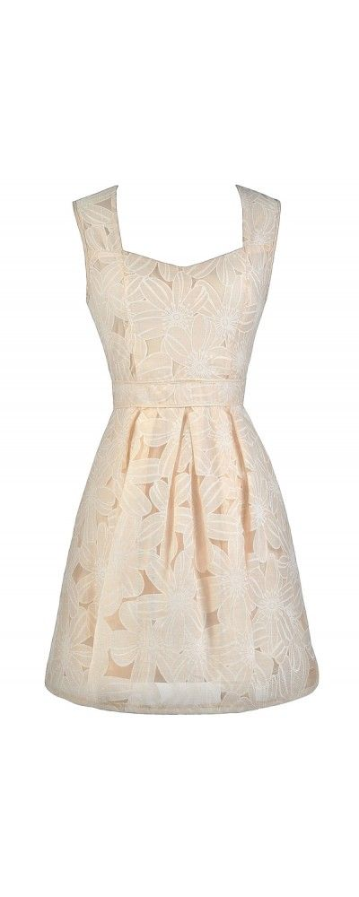 Lily Boutique Grow A Flower A-Line Dress in Cream, $50 Cream Beige Flower A-Line Dress, Floral Pattern A-Line Dress, Cute beige Dress, Beige Rehearsal Dinner Dress www.lilyboutique.com
