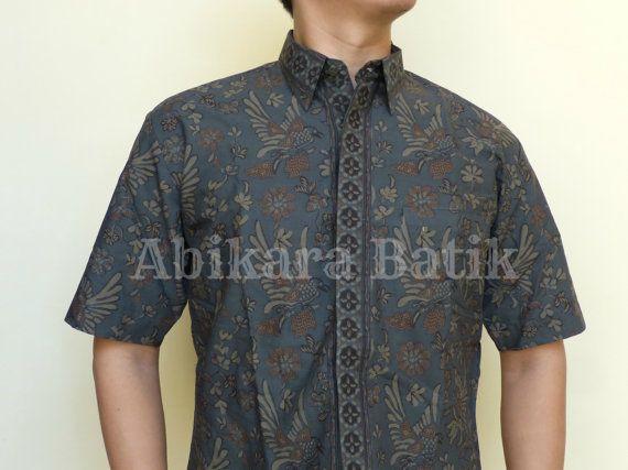 Birds Floral Patterned Shirt  Tailored/Handmade  Dark by Abikara