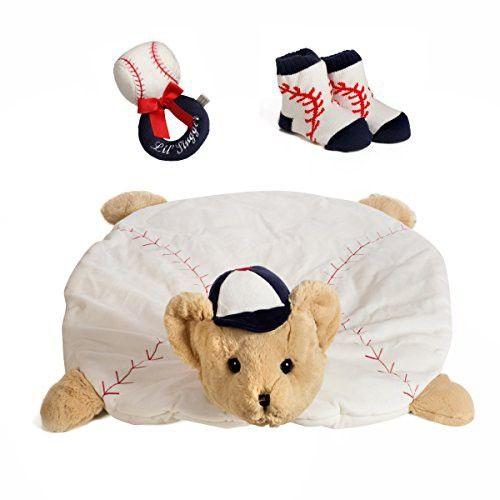 """Baby's Gift Package for Baseball lover includes Lil' Slugger Baseball Belly Blanket, Tummy Time Mat 30"""" x 30"""" with Plush Baseball Rattle 5.5"""" Baseball Socks (Baseball)"""