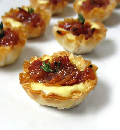 Baked Brie and Bacon Jam Phyllo Cups - Partial Overhead 1.4